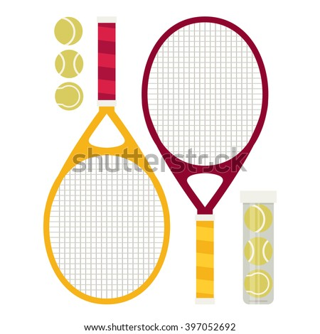 Vector set of tennis rackets and tennis balls