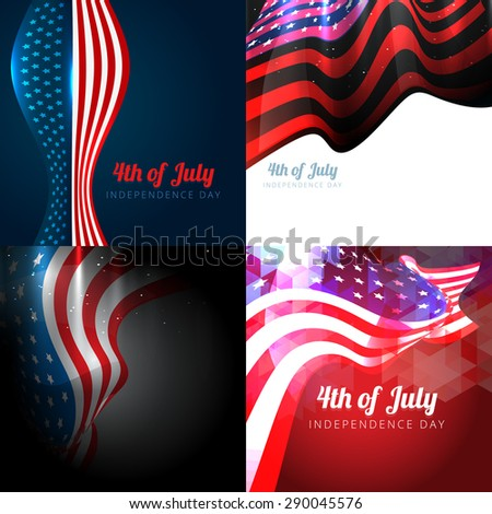 vector set of 4th july american independence day background with wave and american flag - stock vector