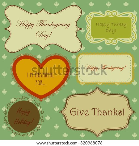 Vector set of thanksgiving banners and simple patterns with maple leaves