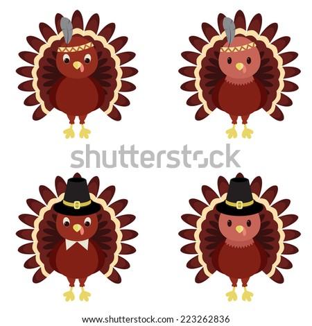 Vector set of Thanksgiving turkeys - stock vector