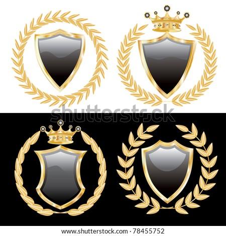 vector set of the black shields with golden laurel - stock vector