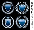 vector set of the blue shields with silver - stock vector