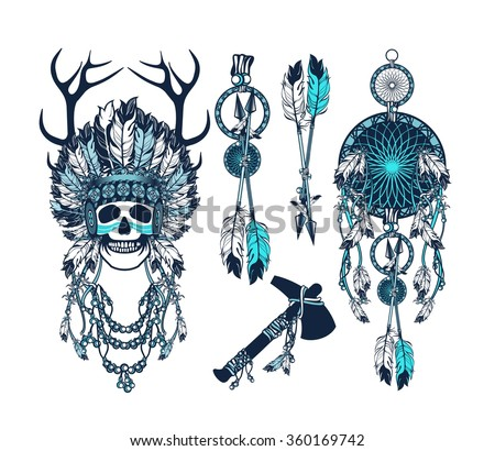 vector set of the epic Indian shaman skull boom a native religion - stock vector