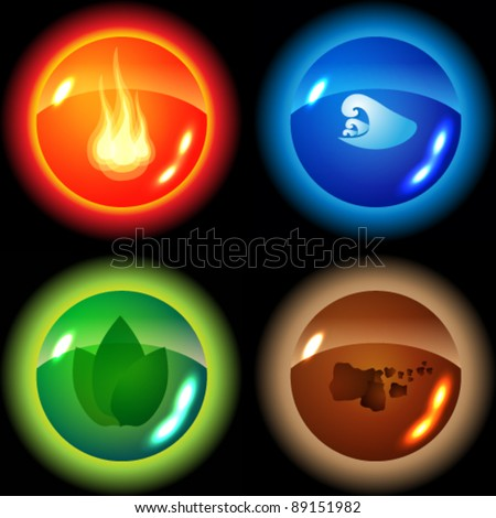 Vector set of the four elements - fire, water, nature, soil - stock vector
