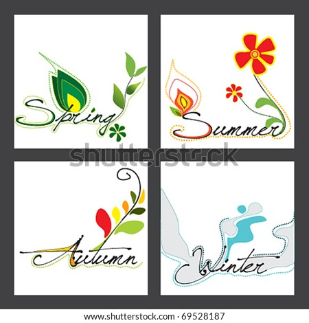 Vector set of the four seasons illustration with floral elements and grunge text - stock vector