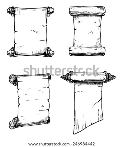 Vector set of the old scrolls stylized as engraving. - stock vector