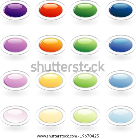 vector set of the oval buttons - stock vector