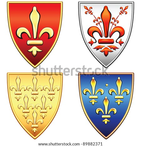 vector set of the traditional old shields with the arms of France and Florence, lily (fleur de lis) in blue, red, gold, silver background, isolated on white background - stock vector