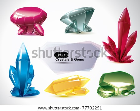 Vector set of the various shapes crystals  on a white background. - stock vector