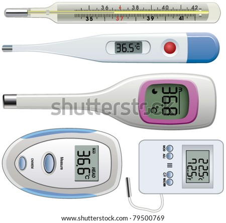 vector set of thermometers of different types - stock vector