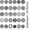 vector set of thirty different gears - stock vector