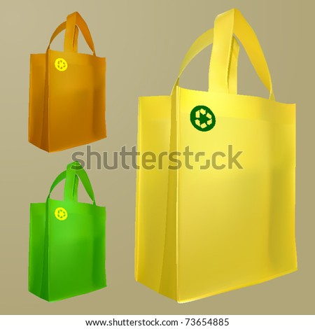 vector set of three bags with recycle sign - stock vector