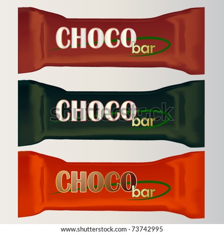 vector set of three chocolate bar packages templates - stock vector