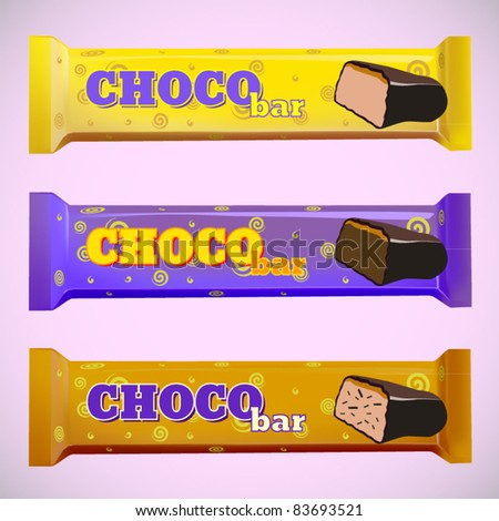 vector set of three chocolate bars - stock vector