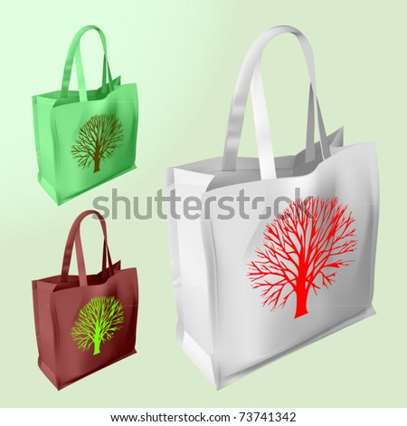 vector set of three reusable bags with a tree silhouette - stock vector