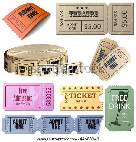 Vector set of tickets and coupons isolated on white background. - stock vector