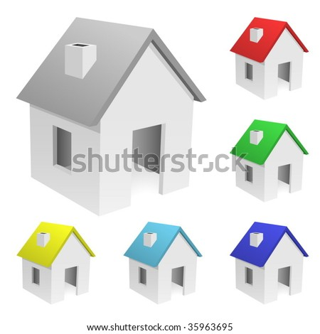 Vector set of tiny houses with varicolored roofs isolated on white background . - stock vector