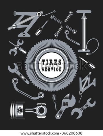car tools names. vector set of tools and spare parts the car name workshop in names