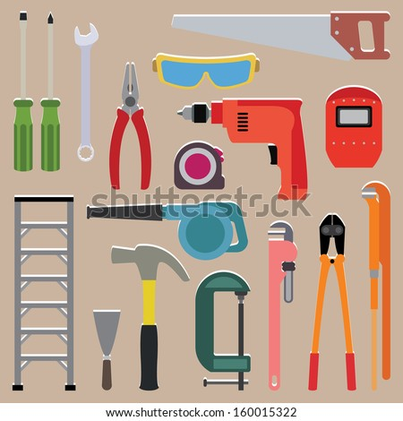Vector set of tools instrument on isolated background - stock vector