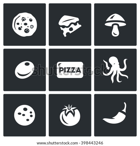 Vector Set of Toppings Pizza Icons. Cheese, Mushroom, Olive, Seafood, Ham, Vegetable, Spice. Preparation of food order and delivery to the consumer. - stock vector