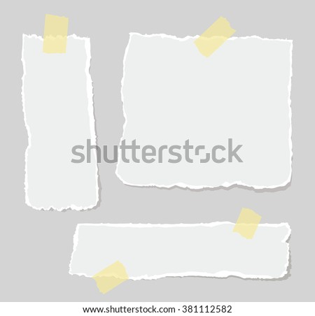 Vector set of torn papers attached sticky tape.  - stock vector