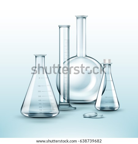 Vector set of transparent glass chemical laboratory flasks, test tube isolated on background