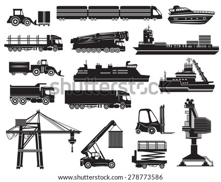 Vector set of Transport icons, silhouettes isolated on white background - stock vector