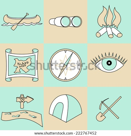 Vector set of travel and camping abstract blue and beige  icons - stock vector