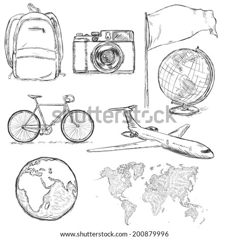 Vector Set of Travel Sketch Objects and Signs - stock vector