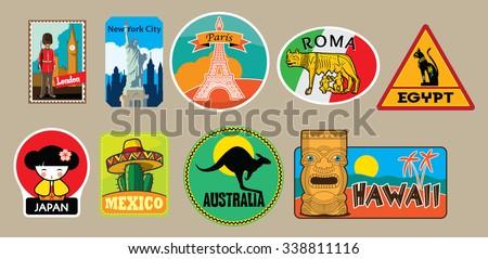 Vector set of travel stickers - stock vector