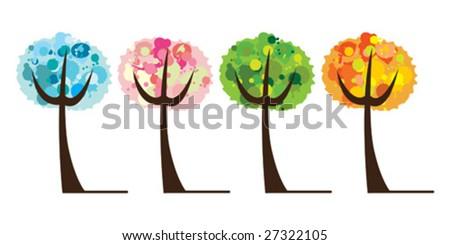 vector set of tree 4 season - stock vector