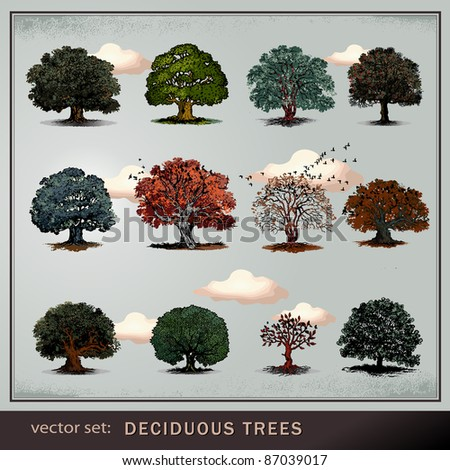 vector set of trees - stock vector