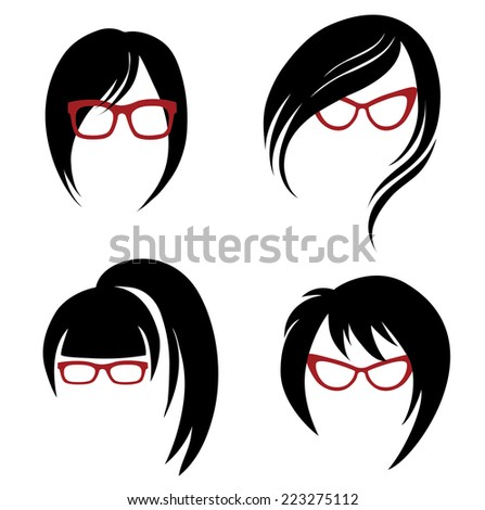 "Vector set of trendy hair styling for woman (from my big ""Hair styling series"") - stock vector"