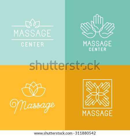 Vector set of trendy linear icons and logo design elements related to massage centers and relax - mono line signs and concepts - stock vector
