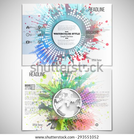 Vector set of tri-fold brochure design template on both sides with world globe element. Abstract circle white banners, watercolor stains and vintage style star burst, vector illustration. - stock vector