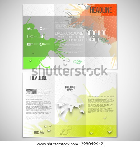 Vector set of tri-fold brochure design template on both sides with world globe element. Abstract hand drawn spotted colorful  background, composition for your design, vector illustration.