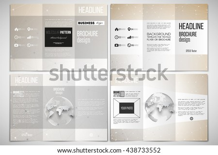 Vector set of tri-fold brochure design template on both sides with world globe element. Abstract polygonal low poly backdrop with connecting dots and lines, connection structure. - stock vector