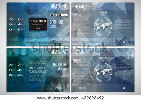 Vector set of tri-fold brochure design template on both sides with world globe element Abstract blue polygonal background, colorful backdrop, modern stylish vector texture. - stock vector