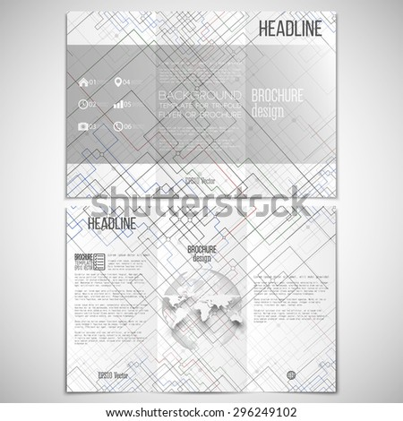 Vector set of tri-fold brochure design template on both sides with world globe element.  Connected lines and dots on white background. Modern stylish backdrop, black monochrome vector background. - stock vector