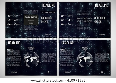 Vector set of tri-fold brochure design templates on both sides with world globe element. Virtual reality, abstract technology background with blue symbols, vector illustration. - stock vector