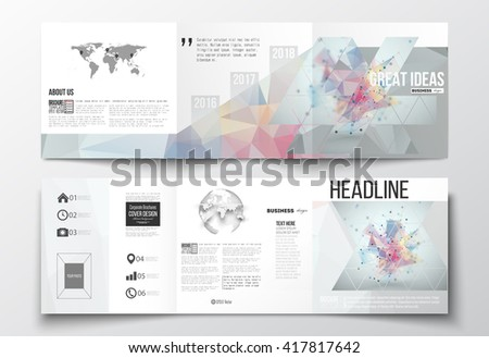 Vector set of tri-fold brochures, square design templates. Molecular construction with connected lines and dots, scientific pattern on abstract colorful polygonal background, triangle vector texture - stock vector