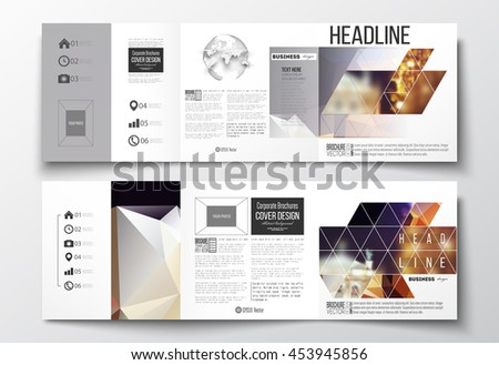 Vector set of tri-fold brochures, square design templates with element of world globe. Colorful polygonal background, blurred image, night city landscape, festive cityscape, triangular vector texture. - stock vector