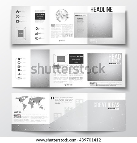 Vector set of tri-fold brochures, square design templates with element of world map and globe. Molecular construction with connected lines and dots, scientific or digital design pattern on gray. - stock vector