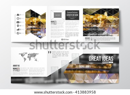 colorful brochure templates - vector set trifold brochures square design stock vector