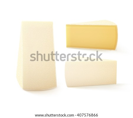 Vector Set of Triangular Pieces of  Bri Cheese Close up Isolated on White Background