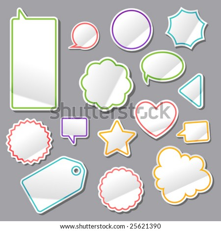 vector set of turned up stickers 2