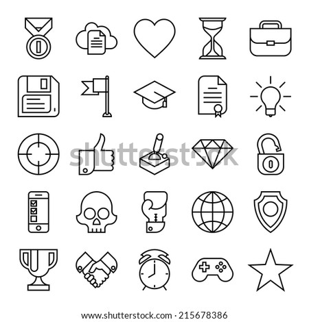 Vector set of twenty five black on white new trends in business icons | Gamification strategy in business icons set | Social media marketing and business innovation flat design line icons collection - stock vector