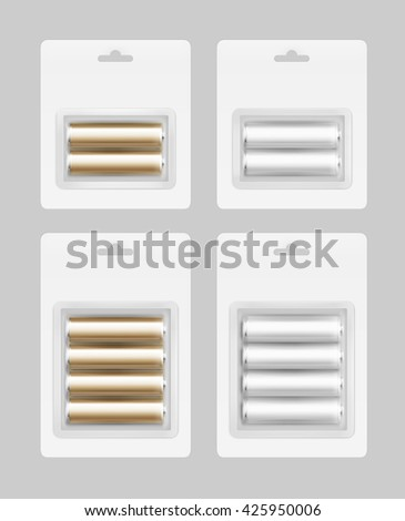 Vector Set of Two and Four White Silver Golden Glossy Alkaline AA Batteries in White Blister Packed for branding Close up Isolated on Background - stock vector