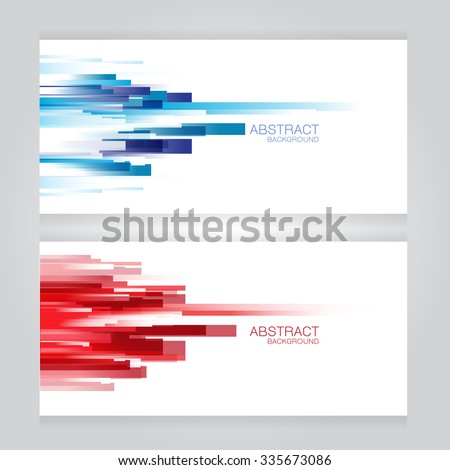 vector set of two banners abstract headers with blue red rectangle - stock vector