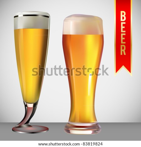 vector set of two beer glasses - stock vector